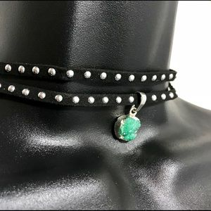 Jewelry - Druzy Aqua Stone Choker Necklace